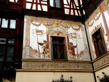 Interior courtyard of the Peles Museum in Sinaia. View of the interior courtyard of Peles Palace in Sinaia. Royal residence before the Second World War in royalty free stock photos