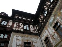 Interior courtyard of Peles Palace in Sinaia. View of the interior courtyard of Peles Palace in Sinaia. Royal residence before the Second World War in Romania royalty free stock photo