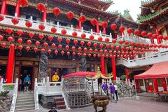 Interior Courtyard of the Sanfeng Temple in Taiwan Stock Photo