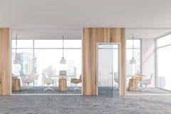 Interior coworking de madeira claro do escritório ilustração do vetor