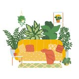 Interior of a cozy living room isolated on white background. Trend décor of indoor plants. Vector illustration in the stock illustration