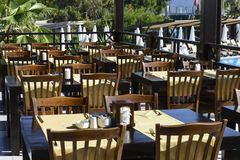 The Interior of  cozy outdoor cafes Royalty Free Stock Photo