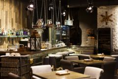 Interior of cozy restaurant, loft style Stock Images