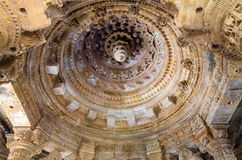 Interior crafted designs roof on rocks at Sun Temple Modhera Royalty Free Stock Images