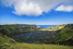 Interior of the crater of the Rano Kau volcano royalty free stock photo