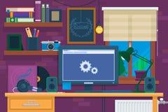 Interior creativo de la oficina en espacio del desván Lugar de trabajo moderno en sitio Estilo minimalistic plano ilustración del vector
