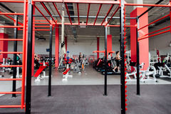 Interior CrossFit area against fitness gym Stock Images