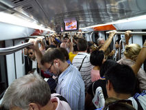 Interior of crowded subway in Rome
