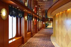 Interior on a cruise ship. Colourful corridor on a cruise ship Stock Photos