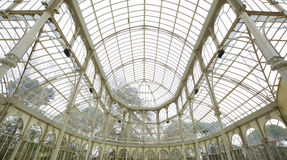 Interior of crystal palace in Madrid, Spain. Royalty Free Stock Images