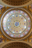 Interior of the cupola in the Roman catholic church St. Stephen's Basilica in Budapest. BUDAPEST, HUNGARY - FEBRUARY 22, 2016: Interior of the cupola in the Royalty Free Stock Photo