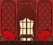 interior with curtain. Royalty Free Stock Photos