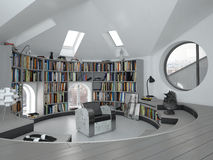 Interior of Curved Modern Home Office or Library Royalty Free Stock Photography