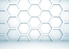 Interior 3d azul com teste padrão do favo de mel na parede Imagens de Stock