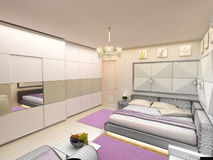 Interior 3D bedrooms with bed and a window to the Royalty Free Stock Photography