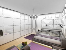 Interior 3D bedrooms with bed and a window to the Royalty Free Stock Images