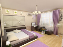 Interior 3D bedrooms with bed and a window to the Stock Photo