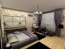 Interior 3D bedrooms with bed and a window to the Stock Photos