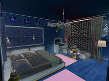 Interior 3D bedrooms with bed and a window to the. 3D interior bedrooms with bed and a window to the street Royalty Free Stock Photography