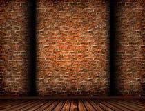 interior 3D com uma parede de tijolo do grunge Fotografia de Stock