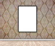interior 3D con la ejecución en blanco de la imagen en el papel pintado del damasco stock de ilustración