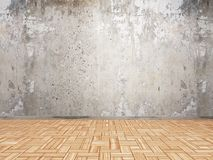 interior 3D con la pared del grunge y el piso de madera del entarimado stock de ilustración