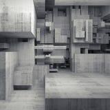 Interior 3d concreto abstrato com cubos caóticos Imagens de Stock Royalty Free