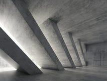 interior 3d concreto com colunas diagonais Fotos de Stock Royalty Free