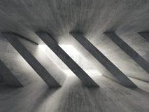 interior 3d concreto escuro com colunas diagonais Foto de Stock