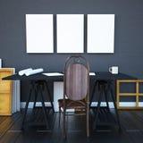 interior 3D interior do moderno do modelo com mesa e cartazes Imagens de Stock Royalty Free