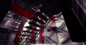 interior 3d. Interior industrial moderno, escaleras, espacio limpio adentro Imagenes de archivo