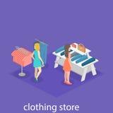 Interior 3D liso infographic isométrico da loja de roupa para dentro Imagem de Stock