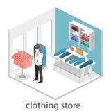 Interior 3D liso infographic isométrico da loja de roupa para dentro Fotografia de Stock Royalty Free