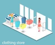 Interior 3D liso infographic isométrico da loja de roupa para dentro Imagens de Stock Royalty Free