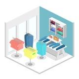 Interior 3D liso infographic isométrico da loja de roupa para dentro Fotos de Stock Royalty Free