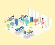 Interior 3D liso infographic isométrico da loja de roupa para dentro Foto de Stock Royalty Free
