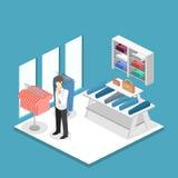 Interior 3D liso infographic isométrico da loja de roupa para dentro Fotos de Stock