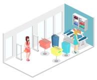 Interior 3D liso infographic isométrico da loja de roupa para dentro Fotografia de Stock