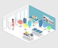 Interior 3D liso infographic isométrico da loja de roupa para dentro Imagem de Stock Royalty Free