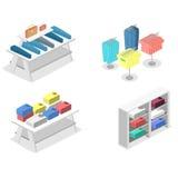 Interior 3D liso infographic isométrico da loja de roupa para dentro Imagens de Stock