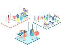 Interior 3D liso infographic isométrico da loja de roupa para dentro Foto de Stock