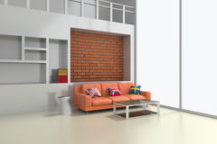 interior 3d moderno da sala de visitas com sofá alaranjado Imagens de Stock
