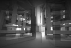 Interior 3d moderno preto abstrato com reflexões Fotos de Stock Royalty Free