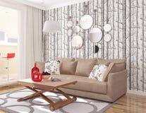 interior 3D sala de estar moderna con el col del árbol del papel pintado y hijo y sofá marrón ilustración del vector