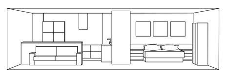 Interior 3d vector illustration. Kitchen and bedroom space. Stock Photo