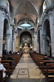 Interior da basílica de Santa Maria del Popolo Indicadores velhos bonitos em Roma (Italy) fotos de stock royalty free
