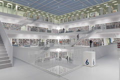 Interior da biblioteca futurista no branco Fotografia de Stock Royalty Free