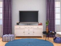 Interior da casa com a tevê na parede ilustração stock