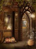 Interior da casa de campo com decorações de Halloween Imagens de Stock