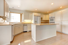 Interior da casa Sala branca da cozinha Imagem de Stock Royalty Free